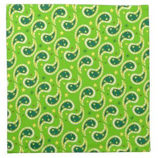 Servilletas verdes modeladas Paisley del paño del
