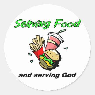 Serving Food Serving God Christian Gift Round Sticker