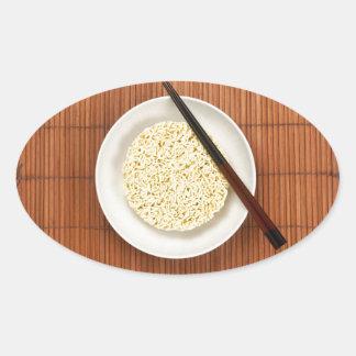 Serving instant noodles oval sticker