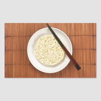 Serving instant noodles rectangular sticker