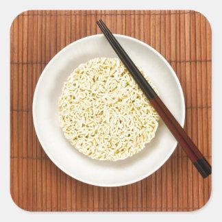 Serving instant noodles square sticker