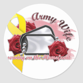 serving on the homefront(army wife) classic round sticker
