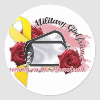 serving on the homefront(military girlfriend) classic round sticker