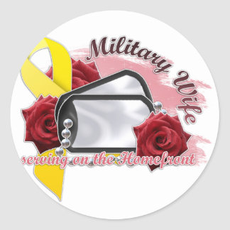serving on the homefront(military wife) classic round sticker