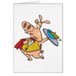serving pig slop waiter cartoon greeting card