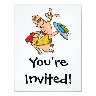 serving pig slop waiter cartoon custom invites
