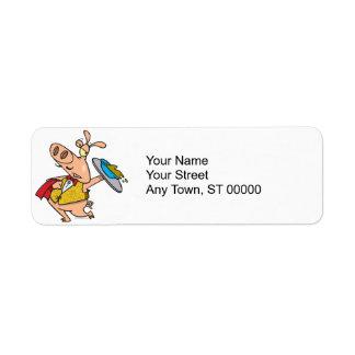 serving pig slop waiter cartoon return address labels