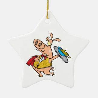 serving pig slop waiter cartoon ornament