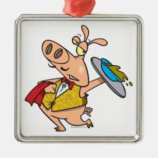 serving pig slop waiter cartoon christmas tree ornament