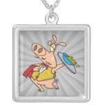 serving pig slop waiter cartoon pendant