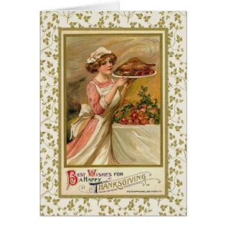 Serving Thanksgiving Dinner Greeting Card