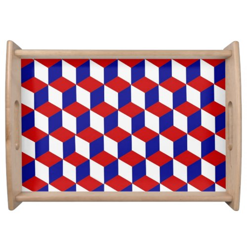 Serving Tray - Block Illusion in Red, White, Blue