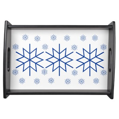 Serving Tray Blue Snowflakes