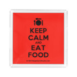 [Cutlery and plate] keep calm and eat food  Serving Trays Square Serving Trays