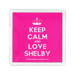 [Knitting crown] keep calm and love shelby  Serving Trays Square Serving Trays