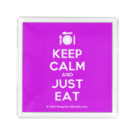 [Cutlery and plate] keep calm and just eat  Serving Trays Square Serving Trays