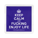 [Crown] keep calm and fucking enjoy life  Serving Trays Square Serving Trays