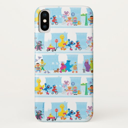 Sesame Pals Walking Along Sesame Street Pattern iPhone X Case
