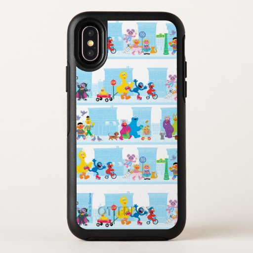 Sesame Pals Walking Along Sesame Street Pattern OtterBox Symmetry iPhone X Case