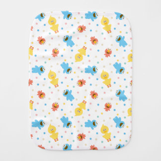 Sesame Pals White Polka Dot Pattern Burp Cloth