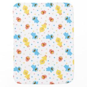 Sesame Pals White Polka Dot Pattern Receiving Blankets