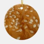 sesame seed hamburger bun Double-Sided ceramic round christmas ornament