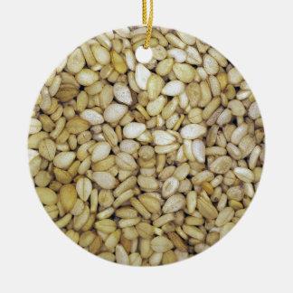 Sesame seed macro photo ceramic ornament