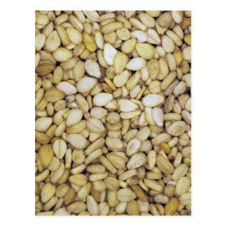 Sesame seed macro photo postcard