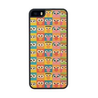 Sesame Street Character Eyes Pattern Wood Phone Case For iPhone SE/5/5s
