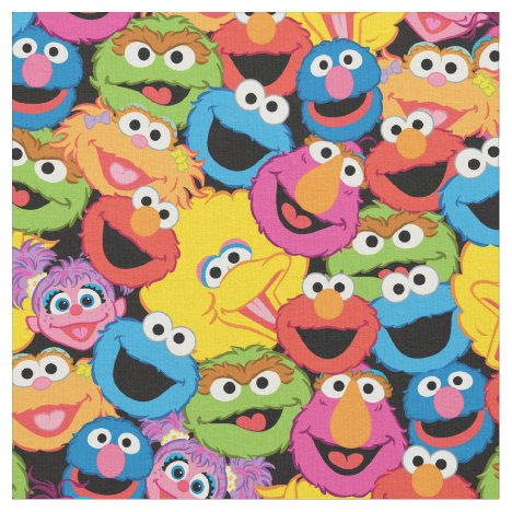 Sesame Street Character Faces Pattern Fabric