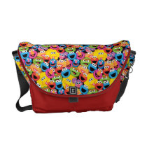 Sesame Street Character Faces Pattern Messenger Bag