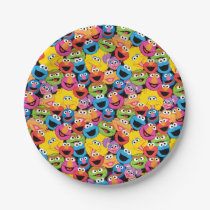 Sesame Street Character Faces Pattern Paper Plate