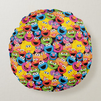 Sesame Street Character Faces Pattern Round Pillow
