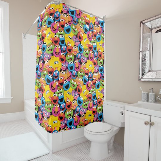 Sesame Street Character Faces Pattern Shower Curtain