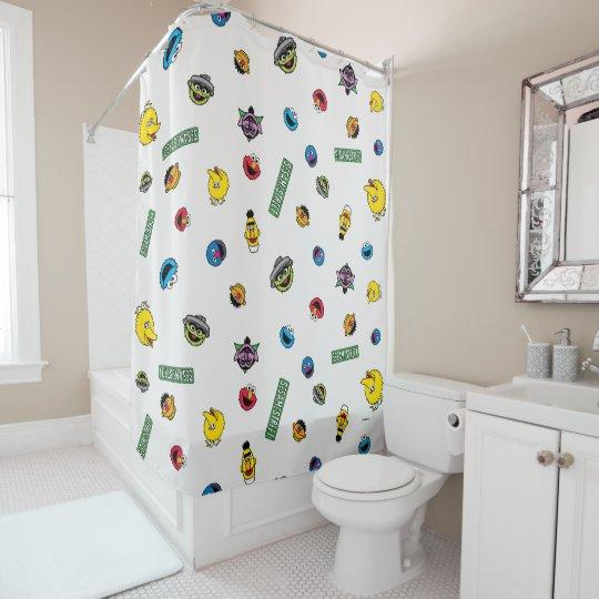 Sesame Street Character Pattern Shower Curtain