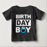 "Sesame Street | Cookie Monster - Birthday Boy Baby T-Shirt<br><div class=""desc"">Customize this supercute Cookie Monster Birthday Boy t-shirt with your chilld's name and age. This is the perfect party t-shirt for the birthday boy.</div>"