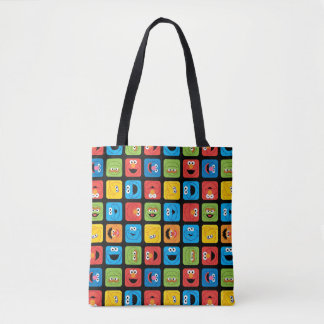 Sesame Street Cubed Faces Pattern Tote Bag