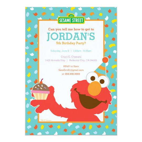 Sesame Street Elmo Cupcake Confetti Birthday Invitation Zazzle