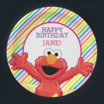 "Sesame Street | Elmo Girl&#39;s Birthday Paper Plate<br><div class=""desc"">Celebrate your little girl&#39;s birthday with a big hug from Elmo. This little monster loves giving hugs. He has his paws outstretched and is ready to cuddle in this cute, colorful design. The adorable little muppet shines against the cool rainbow striped background of these fun paper plates. Get this girly...</div>"