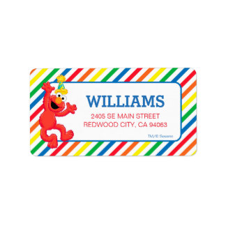 Sesame Street | Elmo Neutral Rainbow Striped Label