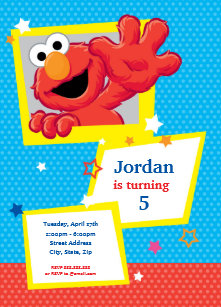 Sesame Street Elmo Polka Dot Stars Birthday Invitation