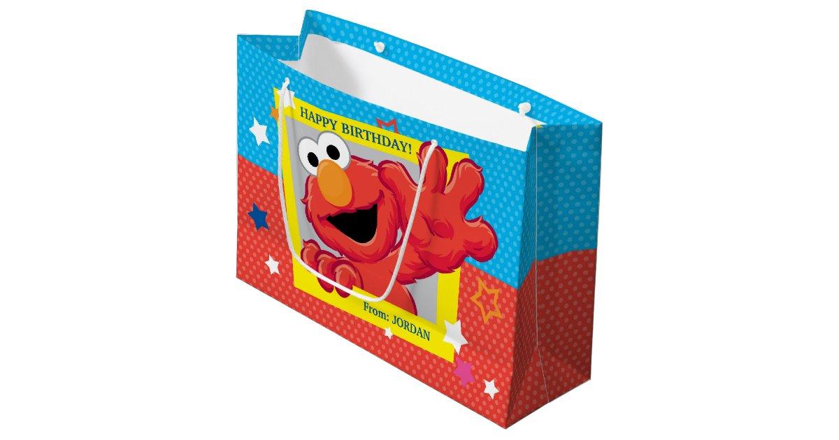 Sesame Street Elmo Polka Dot Stars Birthday Large Gift Bag
