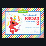 """Sesame Street   Elmo - Rainbow Birthday Card<br><div class=""""desc"""">Check out Elmo, dancing away the little party monster! A bright, cheery and colorful design brought to you by Sesame Street. A rainbow background pattern of stripes really makes this the ultimate gender neutral party accessory. A kid&#39;s cartoon character for all ages. Customize the design with a personal message today!...</div>"""