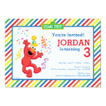 Sesame Street   Elmo - Rainbow Birthday Card<br><div class='desc'>Check out Elmo, dancing away the little party monster! A bright, cheery and colorful design brought to you by Sesame Street. A rainbow background pattern of stripes really makes this the ultimate gender neutral party accessory. A kid&#39;s cartoon character for all ages. Customize the design with a personal message today!...</div>