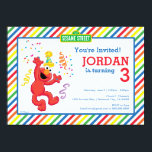 "Sesame Street | Elmo - Rainbow Birthday Invitation<br><div class=""desc"">Check out Elmo, dancing away the little party monster! A bright, cheery and colorful design brought to you by Sesame Street. A rainbow background pattern of stripes really makes this the ultimate gender neutral party accessory. A kid&#39;s cartoon character for all ages. Customize the design with a personal message today!...</div>"