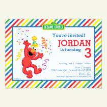 Sesame Street | Elmo - Rainbow Birthday Invitation