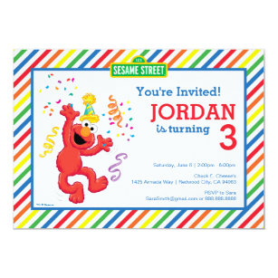 Sesame Street Elmo Rainbow Birthday Invitation