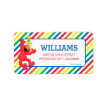 """Sesame Street   Elmo - Rainbow Birthday Label<br><div class=""""desc"""">These cute, custom labels will add a fun splash of color to your kid&#39;s birthday party invitations. The adorable rainbow striped design features Elmo, the happy red monster from Sesame Street. The cute little muppet looks ready to party as he dances with a giant smile across his furry little face....</div>"""