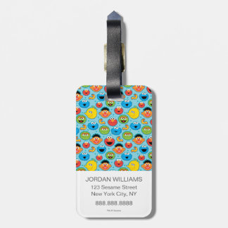Sesame Street Faces Pattern on Blue Bag Tag