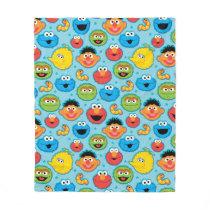 Sesame Street Faces Pattern on Blue Fleece Blanket